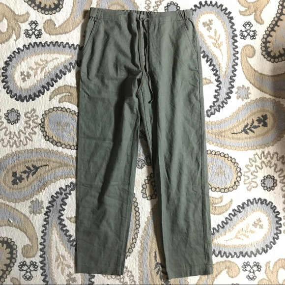 brand new offer discounts check out Uniqlo Cotton/Linen Relaxed Pants in Olive