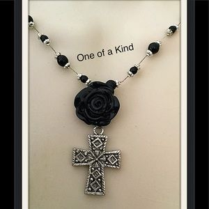 Jewelry - Black Rose Necklace, Cross Necklace, Gothic Style