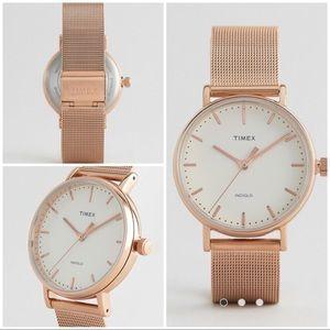 Timex Fairfield Mid Size Watch Cream/Rose Gold