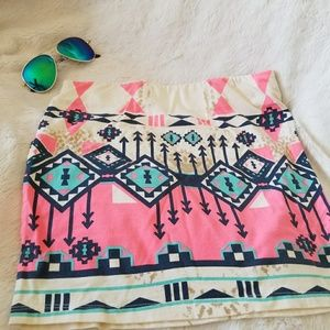 Aztec Tribal mini skirt Small Medium