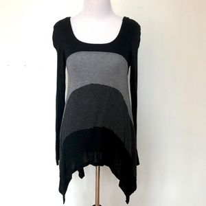 Monteau Striped Hi Low Tunic Sweater - Medium