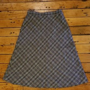 VINTAGE Wool Blend - Plaid Gray Skirt LONG