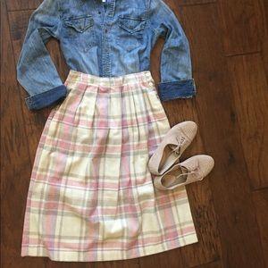 80s Plaid Pleated Midi Skirt, size 8