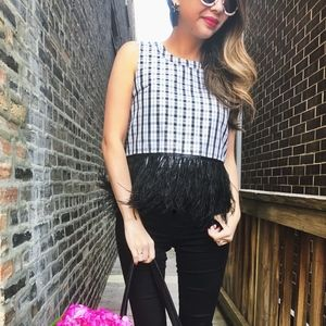 Black and White Plaid Feather Top