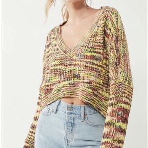 Silence + Noise Chenille High/Low V-Neck Sweater