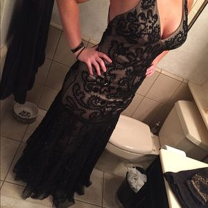 Black and nude formal beaded gown
