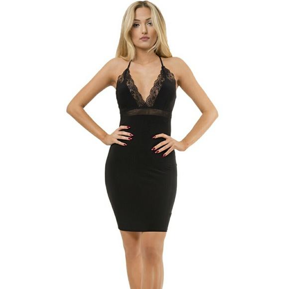 Dresses Sale Lace Deep Plunge Neckline Dress Poshmark