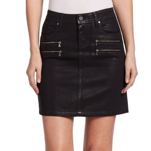 Edgy coated denim skirt with zippers