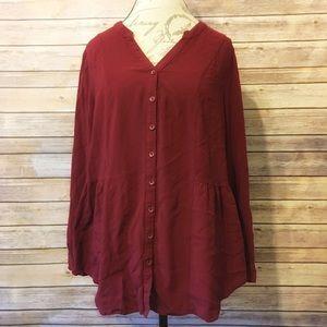 Modcloth maroon long sleeved tunic top