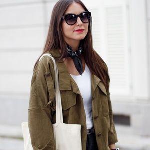 Madewell Green Silk Neckscarf