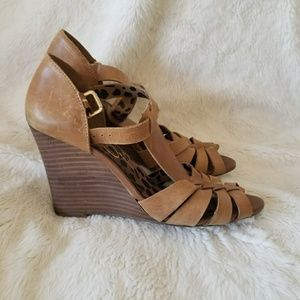 Jessica Simpson wedge leather heels sandals
