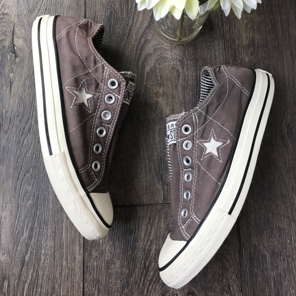 55bd09354aac Converse Shoes   One Star Grey Laceless Sneakers   Poshmark