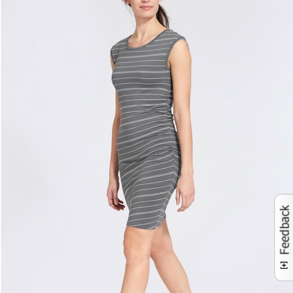 T-shirt ATHLETA Carefree Tee Dress Stripe M MEDIUM Gray White StripeNEW Soft