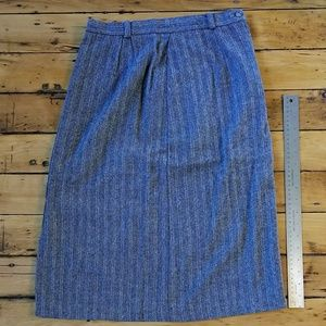 VINTAGE Gray Herringbone Wool Blend Skirt