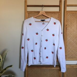🍒 Vintage Embroidered Cherry Cardigan Sweater 🍒