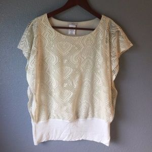 Beautifully detailed cream dolman style shirt!!!!!