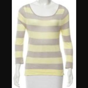 Rag & Bone Striped Yellow Gray Knit Top S