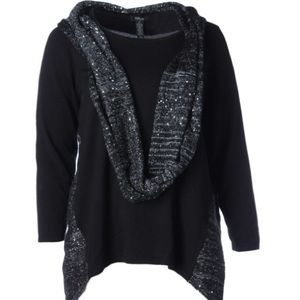 NWT STYLE & Co. Black Sweater W/ Bling Scarf Sz 2X
