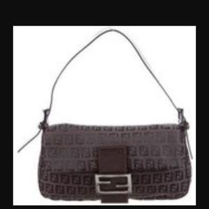 Fendi Black Zucca Baguette Bag