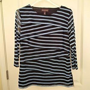 NWT Striped Black Blue Sheer Overlay 3/4 Sleeve