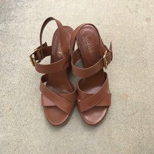 Ralph Lauren Tan Leather Wedges