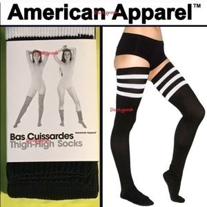 American Apparel Thigh High Socks Navy White 2 Pr