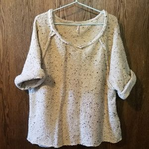 Free People Marled Yarn Short-sleeved Sweater