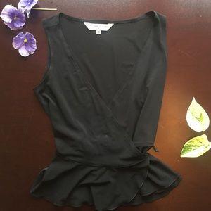 [Trina Turk] Black Wrap V neck Blouse - Size Small