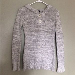 Grey and white hooded sweater