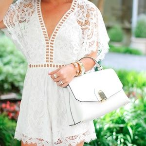 Lioness Pants - NWT Lioness white lace romper