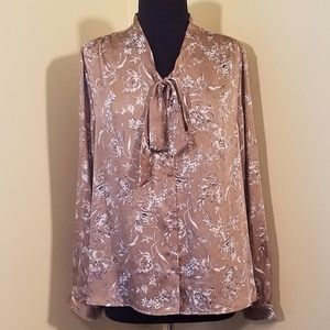 Light Brown w/White Floral Tie Blouse, 16
