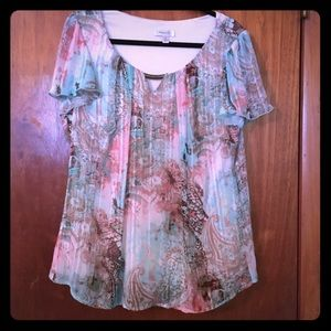 Plus size top with semi sheer overlay fully lined