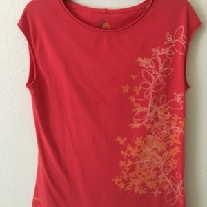 ACE Sleeveless Top Coral with Floral Detail L
