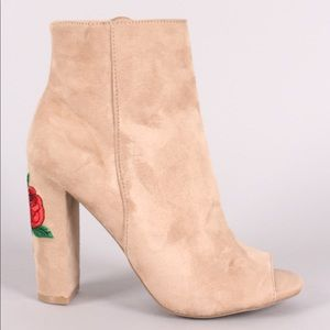Nude peep toe floral embroidery chunky heel bootie