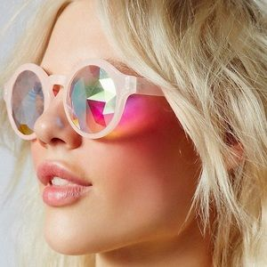 Accessories - Prismatic Glass Kaleidoscope Sunglasses Round