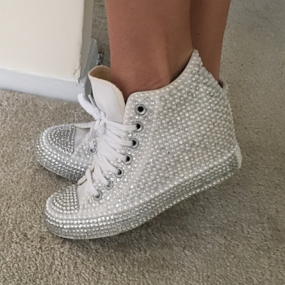 9f3774394 ✨BLING✨ Converse Rhinestone Wedge Sneakers