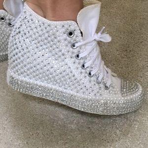 ✨BLING✨ Converse Rhinestone Wedge Sneakers 9f50ee1a9