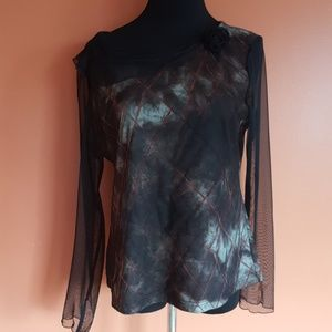 Tribal top with sheer sleeves and gorgeous detail