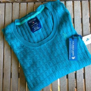 NWT! U.S. Polo Assn. Teal Green Cable Knit Sweater