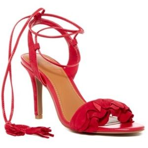 🎀🆕14th & Union Red Suede Ruffled Ankle Tie Heel