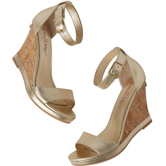 fb8391353c3f Lilly Pulitzer Shoes - •Lilly Pulitzer• Gold Kayla Wedges