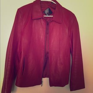 Cherry red  genuine leather jacket size med