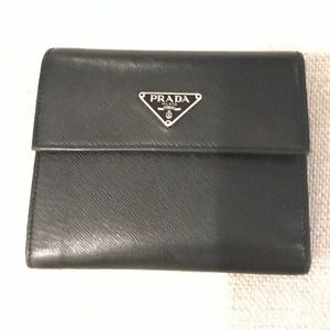 Authentic Prada Black Saffiano Leather Wallet