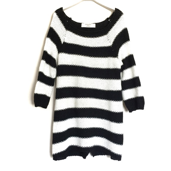63% off Zara Sweaters - Zara black white chunky knit striped tunic ...