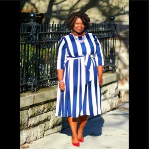Dresses & Skirts - Blue & White Striped Midi Dress