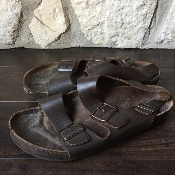 Birkenstock Brown Leather Buckle Sandal 42 L11 M9
