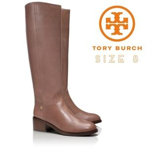 Tory Burch Fulton Riding Boots Taupe Leather
