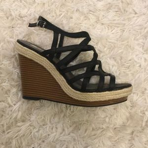 Strappy wedges.