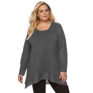 APT. 9 Plus Size Sharkbite Shirt Tail Sweater NWT