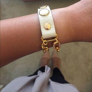 Leather Double Chain Adjustable Gold Bracelet